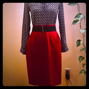 Vintage Red Pencil Skirt Size 6